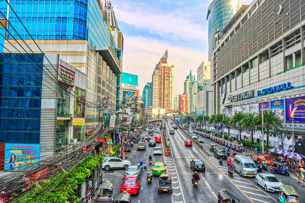 A photography of busy streets in bangkok